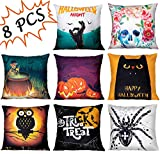 """Geefuun 8PCS Halloween Throw Pillow Case Plush Velvet Cushion Cover - Holiday Party Favor Gift Decorations Decor Spider/Cat/Skeleton/Bat/Pumpkin/Ghost Hand/Skull for Sofa,Bed,Home (18""""x 18"""")"""