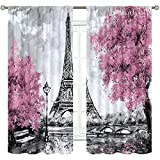 Cinbloo Eiffel Tower Curtains Rod Pocket Paris Pink Trees Oil Painting European City Landscape France Art Printed Living Room Bedroom Window Drapes Treatment Fabric 2 Panels 42 (W) x 63(L) Inch