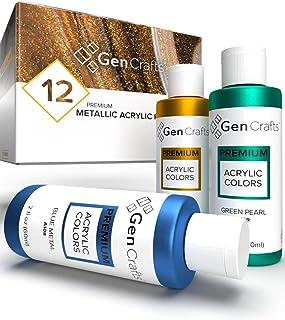 GenCrafts Metallic Acrylic Pouring Paint Set - Set of 12 Metallic Colors - Pre-Mixed High Flow & Ready to Pour - 2 oz./ 59...