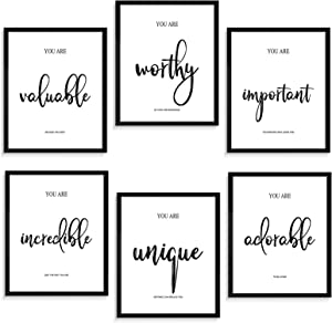 Motivational Wall Decor for Bedroom Living Room Office - Inspirational Wall Art - Positive Quotes & Sayings - Daily Affirmation for Men Women Teen kids - Black and White Wall Art Ideal Gift Choice (11X14In, Set of 6, Unframed)