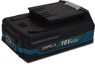 Orfeld Professional Batería 18V Recargable de Ion de Litio, Batería de Repuesto de 2.0 Ah, Para Todas las Herramientas Eléctricas sin Cable 18 V de 050A/050B/025A/025B/025C Taladro inalámbrico