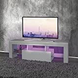 ML Design Mesa Baja Moderna para TV Soporte con Iluminación LED 130x49x45cm Mueble Blanco en Madera con Estante de Cristal Diseño Atractivo sin Tiradores Compartimentos Abiertos de Almacenamiento