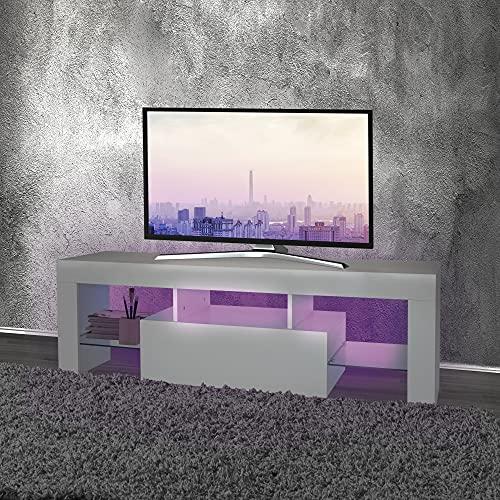 ML DESIGN Modernes TV Lowboard Fernsehtisch mit LED-Beleuchting für Fernseher, 130x49x45cm, Weiß, in Holz, mit Glasregal, Griffloses Design, Fernsehschrank TV-Möbel TV-Schrank TV-Regal, für Wohnzimmer