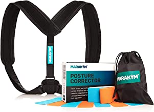 Posture Corrector – Adjustable Clavicle Brace to Comfortably Improve Bad Posture for Men and Women - Posture Corrector for Women and Men Plus Kinesiology Tape and Carry Bag Included by MARAKYM