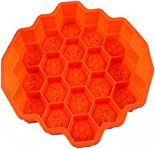 KISEER Honeycomb Silicone Soap Mold | 19-Hole Baking Cake Mold Bakeware for Family or Friends Party (Orange, 9-Inch)