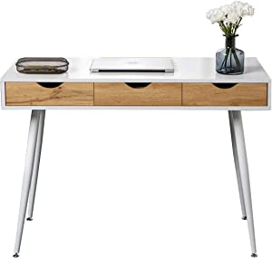 Soges 43.3 inchs Computer Desk, Modern Writing Workstation, Laptop Table with 3 Drawers for Home Office, Storage Space Saver, White, 9US-GCBG1016.