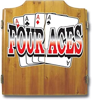 Trademark Four Aces Dart Cabinet Includes Darts and Board