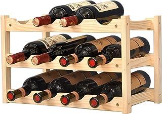 KALINCO Wine Rack,Wine Racks Free Standing Floor,Wine Rack 12 Bottles 3-Tier,Wine Racks Countertop for Home Kitchen,Bar, C...