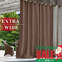 Pergola Outdoor Curtain Blackout Drape - Extra Wide Indoor Outdoor Heavy Duty Thermal Insulated Drapery Waterproof Shading Panel for Cabana/Front Door, Mocha, 100 inch Wide x 84 inch Long, 1 Panel