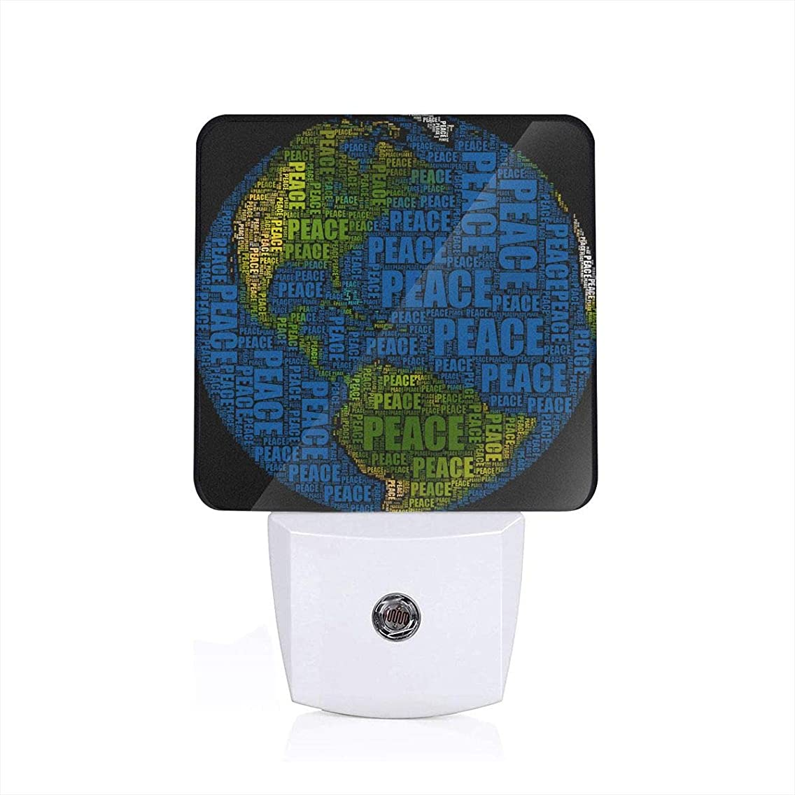 NIGTLIGHT Peace Earth Personality Funny Pattern LED Night Light Automatic Control Dusk to Dawn Switch Plug-in Nightlight for Bedroom Bathroom Hallway Stairways Children