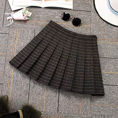 HAHAQZ Rock, schwarz-gelber Mini-Faltenrock, adretter Stil, kariert, niedlich, japanische Schuluniformen, Damen, Jupe Kawaii-Rock, Xxxl