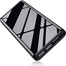 Kilponen Power Bank 25800mAh,【Design di Finitura Brillante】 Batteria Portatile Cellulare Caricabatterie Portatile 2 USB Carica Veloce Batteria Esterna per Cellulare,Tablet - Nero