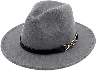 SINXE Autumn Winter Women Men Wool Felt Fedora Hats with Belt Buckle Wide Flat Brim Jazz Party Formal hat Panama Cap