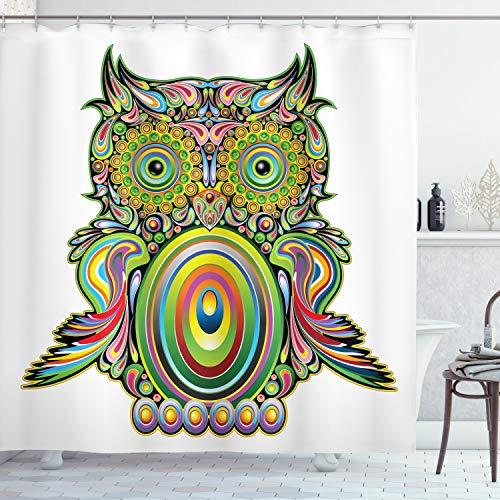 ABAKUHAUS Bunt Duschvorhang, Ethnische Eule Legend Eye, mit 12 Ringe Set Wasserdicht Stielvoll Modern Farbfest & Schimmel Resistent, 175x180 cm, Mehrfarbig