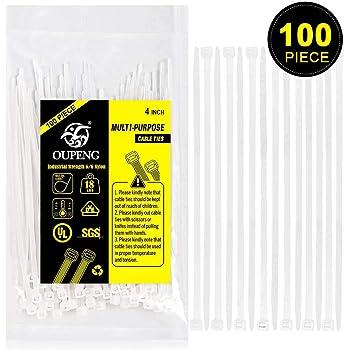 Multi-Purpose Nylon Zip Ties - (100 Piece) 4 Inch Self Locking Cable Ties.White