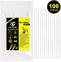Multi-Purpose Nylon Zip Ties - (100 Piece) 4 Inch Self Locking Cable Ties.White