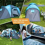 Skandika Hammerfest Family Dome Tent with 2 Sleeping Cabins, 200 cm Peak Height, Blue, 4-Person 6