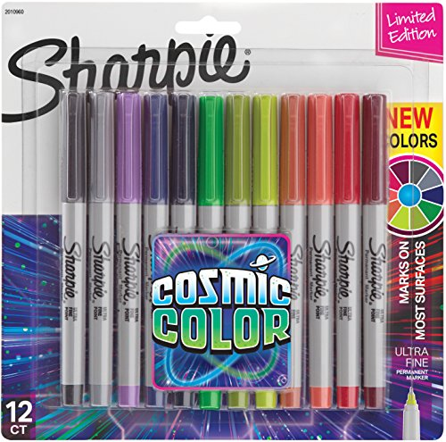 Sharpie Permanent Markers, Ultra Fine Point, Cosmic Color, Limited Edition, 12 Count