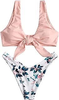 ZAFUL Damen Bikini Set Geknoteter gepolsterter Bikini-Set mit T-String Einfarbig Bikiniset Badeanzug
