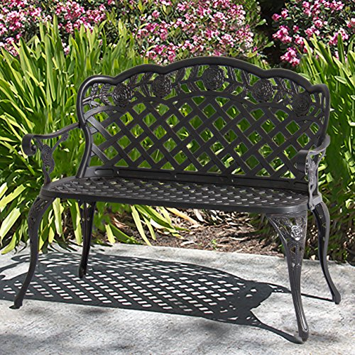 Best Choice Products 2-Person Aluminum Bench for Patio, Garden w/Lattice Backrest and Seat, Rose Detailing - Bronze