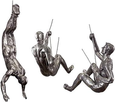 Ibnotuiy 3Pcs Nordic Retro Resin Climbing Man Wall Sculptures Creative Hand-Finished Sculpture Bar/Home/Office Art Decor Figurine (Silver Rust)