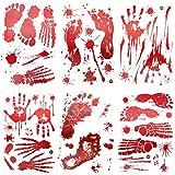Joyjoz Halloween Dekoration Blutige Aufkleber Fenster 66PCS,Spooky Handabdruck Fussabdruck Aufkleber...