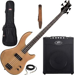 $409 » Dean Edge 09 Satin Natural Bass Guitar, Peavey Max 110 Amp, Suede Strap, Bag