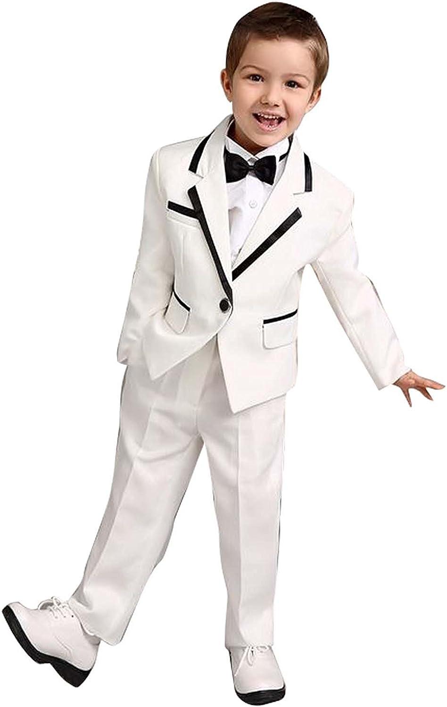 Boys White Suits Set 3 Pieces Jacket Pants Shirt Spring Summer