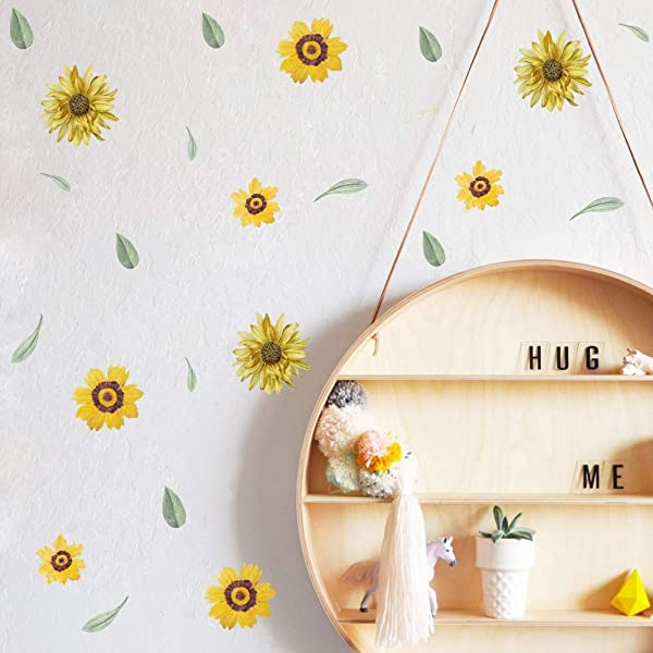 TOARTi Sunflowers Wall Decal Yellow Chrysanthemum Flower Sticker For Girls Bedroom Daisy Floral Stickers For Kids Decoration