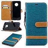 LODROC Moto G6 Hülle, TPU Lederhülle Magnetische Schutzhülle [Kartenfach] [Standfunktion], Stoßfeste Tasche Kompatibel für Motorola Moto G6 - LOBFE0300916 Grün