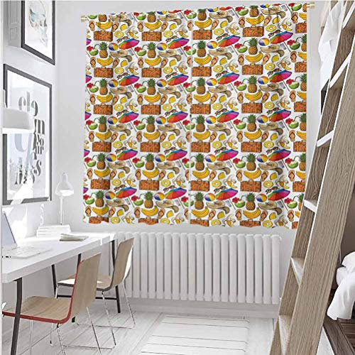 Summer Energy-saving and noise-reducing Vacation Themed Illustration with Straw Hat Banana Flip Flops and Travel Suitcase rod-shaped pocket curtains for the living room W52 x L63 Inch Multicolor