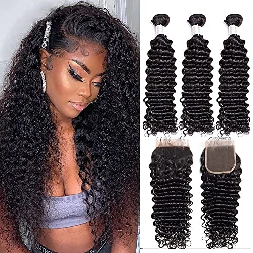 Vipbeauty Malaysian Deep Curly 3 Bundles With Closure Three Parting Unprocessed Virgin Hair Weave Extensions With 4x4 Lace Closure ( 20 22 24 with 18 Closure )