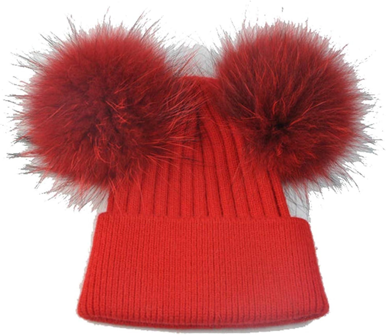 Nat Terry Women Double Real Raccoon Fur Pompom Hat Winter Knitted Wool Skullies Beanies Girls Female Hat