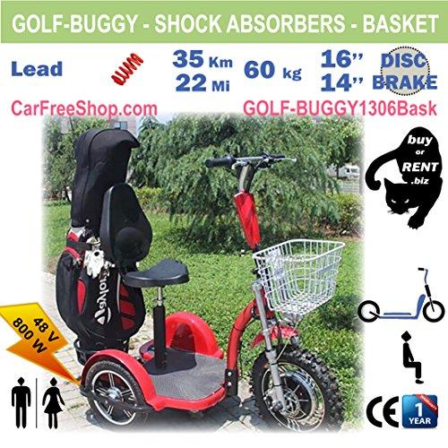 customIZED carfreeshop golf-buggy1306Elektro Scooter mit 3Rädern, stabil, Golf-Trolley, Korb, großen Auswahl (36löcher), sitzen, Schutzblech, mühelos, Diebstahlschutz, All-Terrain-/Country.