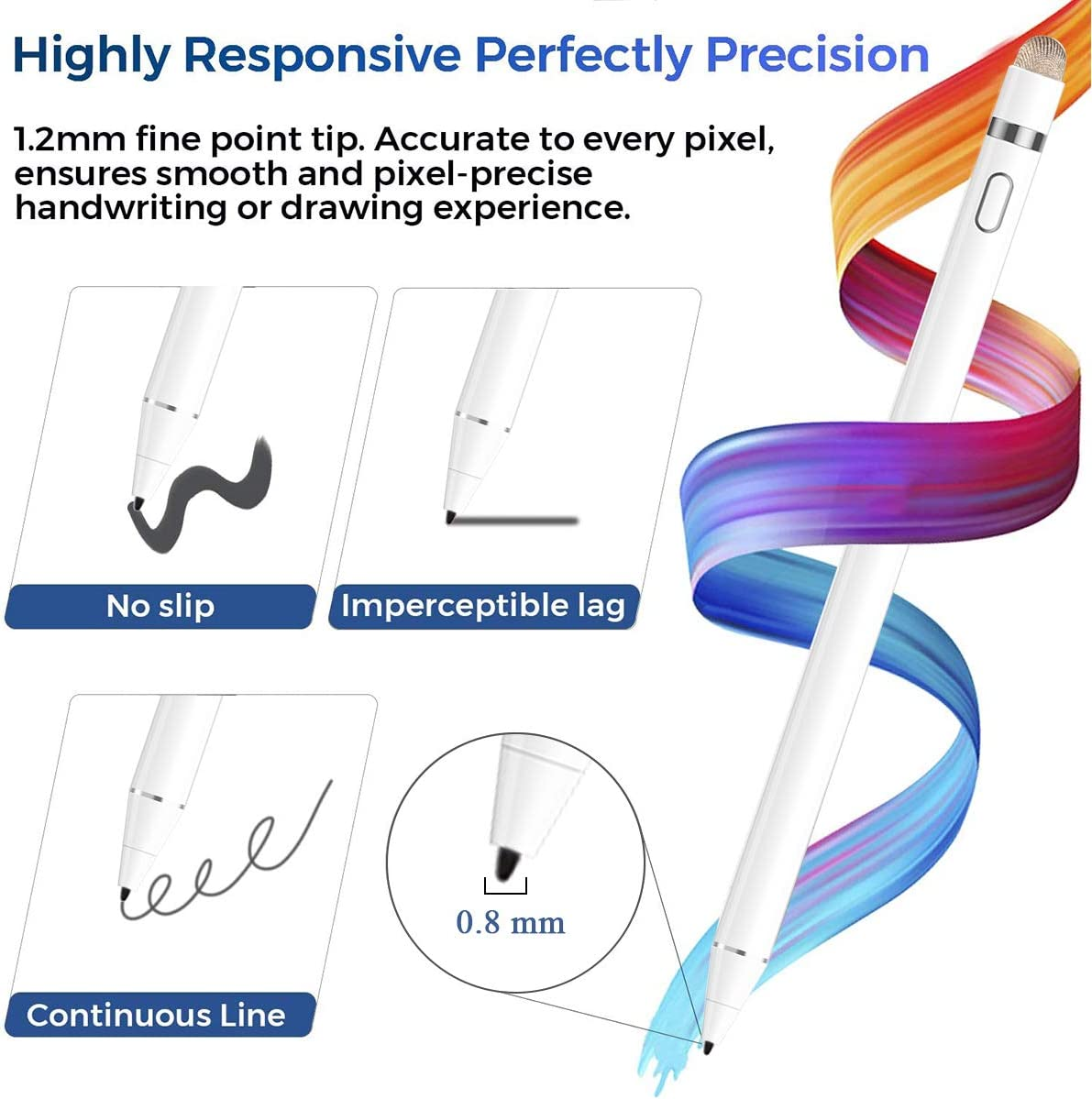 ,iPad 6th//7th Gen,iPad Mini 5th Gen,iPad Air 3rd Gen for Precise Writing//Drawing Stylus Pen for iPad with Palm Rejection 2018-2020 11//12.9 Inch Active Pencil Compatible Apple iPad Pro