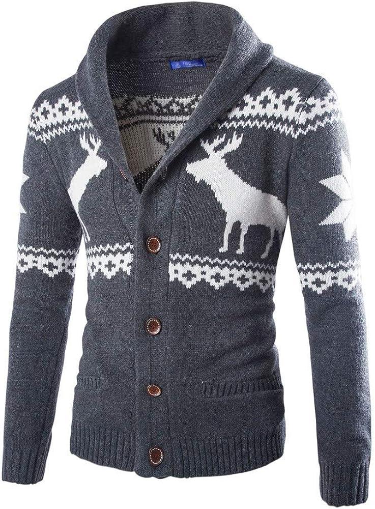 WUAI-Men Christmas Ugly Sweater Cardigan Xmas Knitwear Cardigan Coat Jacket Outwear