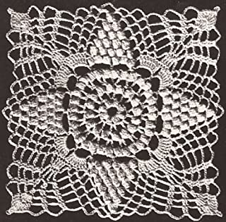 Vintage Crochet PATTERN to make - Popcorn Stitch MOTIF BLOCK Bedspread Snow White Design. NOT a finished item. This is a pattern and/or instructions to make the item only.