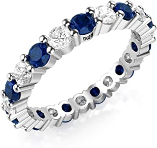 Metal Factory 3.50MM Sterling Silver 925 White & Blue CZ Eternity Engagement Wedding Band Ring