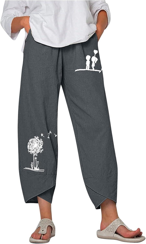 Toeava Capri Pants for Women,Womens Flower Print Harem Pants Cotton Linen Casual Loose Comfy Capris Pants with Pockets