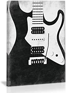 Black And White Abstract Guitar Music Wall Art Decor Canvas Painting Kitchen Prints Pictures For Home Living Dining Room