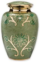 Green Garden Cremation Urn by Beautiful Life Urns - Exquisite Brass Funeral Urn Etched with Gold Flowers (Large, Adult)