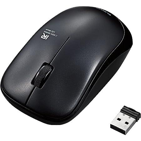 エレコム マウス ワイヤレス (レシーバー付属) Mサイズ 3ボタン 約2.5年電池交換不要 省電力 ブラック M-FIR08DRBK