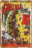 Godzilla King of Monsters It's Alive Carteles de chapa vintage Cartel de chapa Retro Letrero de metal Placa Arte Decoración de pared 8 × 12 Pulgadas