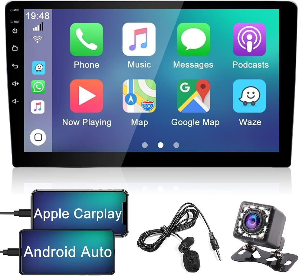 Hikity Apple Carplay Radio Coche 2 DIN Bluetooth 9 Pulgadas HD Pantalla Tactil Radio FM + USB + AUX IN Mirror Link con Cámara De Visión Trasera