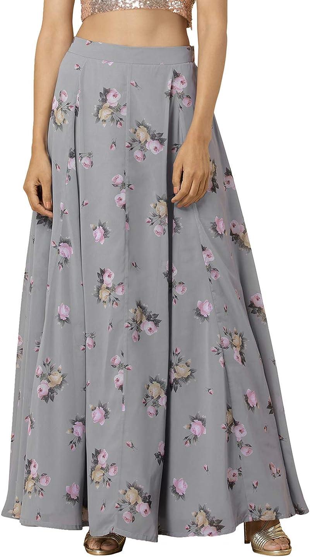 Indya Georgette A-Line Skirt (ISK00478_Grey_S)