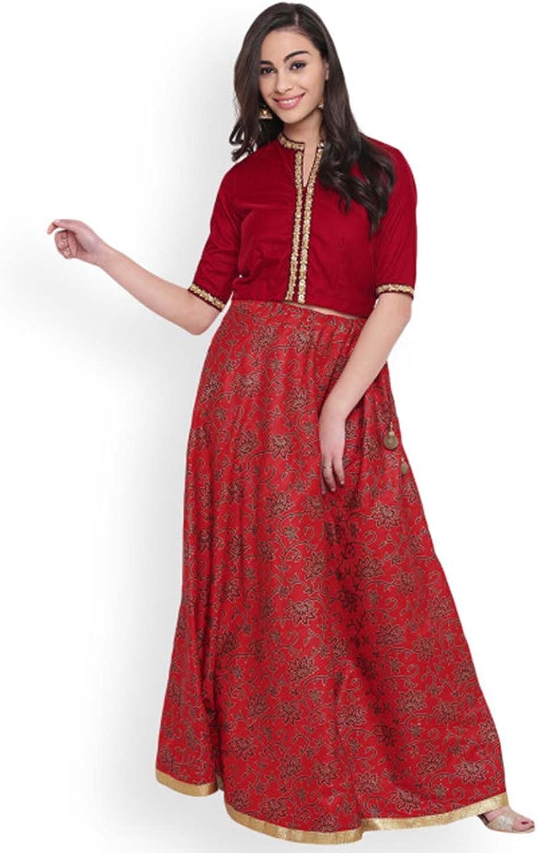 Indian Handicrfats Export Saadgi Black Block Print Gotta Patti Maxi Skirt (Size  S)