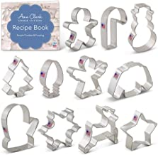 Ann Clark Cookie Cutters 11-Piece Christmas Cookie Cutter Set with Recipe Booklet, Snowflake, Christmas Tree, Candy Cane, ...