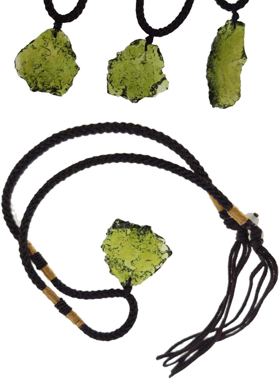 Natseekgo Unisex Moldavite Crystal Necklace with Chain, Irregular Energy Stone Pendant Artificial Raw Rough Crystal Energy Stone Represent for Hope