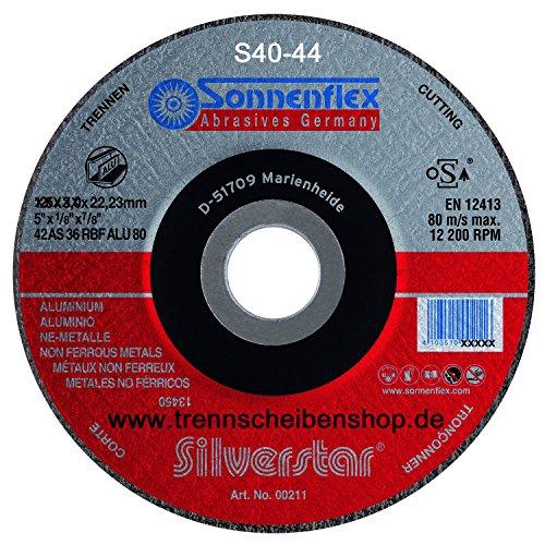 10x Trennscheibe, S44_Ø 125 x 1,6 mm, Aluminium + NE Metall Premium-Qualität.