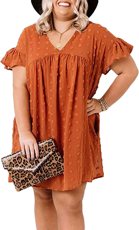 BLENCOT Women's Plus Size V Neck Mini Dress Ruffled Short Sleeve Casual Summer Dresses 1X-5X